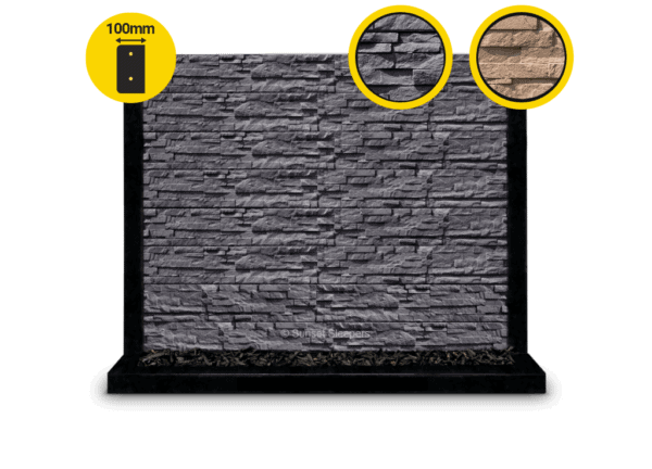 100Mm The Manhattan Charcoal Stackstone Rockface Concrete Sleeper By Sunset Sleepers 1