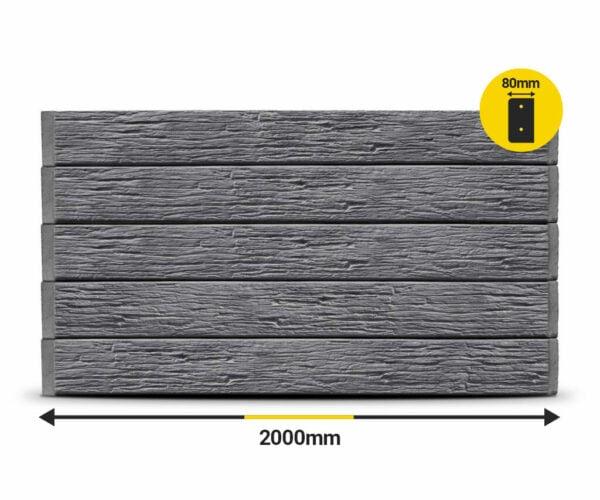 Charcoal Textured Woodgrain 2000 X 200 X 80Mm Concrete Sleeper By Sunset Sleepers