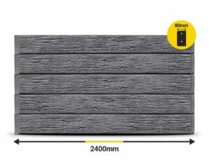 Charcoal Textured Woodgrain 2400 x 200 x 80mm Concrete Sleeper by Sunset Sleepers